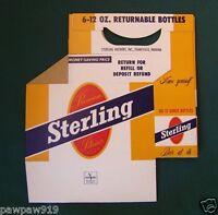 STERLING BEER BOTTLE CARRIER 6 PK CARDBOARD 12 OZ ORIGINAL VINTAGE EVANSVILLE IN