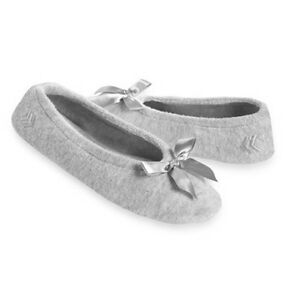 Ladies Isotoner GRAY Terry Ballet Style Slippers NEW Sturdy sole