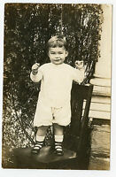 RPPC-Real Photo Postcard-Cute Little Boy Standing On Chair-Bobbie Anderson-1917