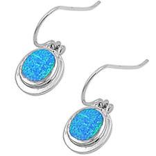"""Blue Australian Opal .925 Sterling Silver Earrings 1"""""""