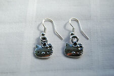 Hand made dangly girly earrings tibetan silver hello kitty (+free stoppers)