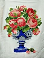 """New Completed finished cross stitch needlepoint""""Silver Rose Cup""""home decor gift"""