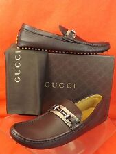 GUCCI BROWN PEBBLED LEATHER WEB SILVER HORSEBIT DRIVING LOAFERS 12.5 13+ 322741