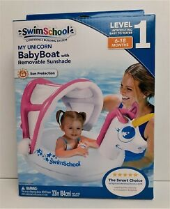 New Swimschool My Unicorn Baby Boat w/ Removable Sunshade Level 1 6-18 Mos  *199