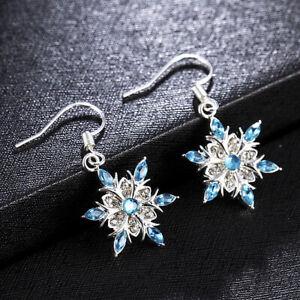 925 Silver Zircon Snowflake Tassel Earrings Stud Drop Dangle Women Jewelry XMAS