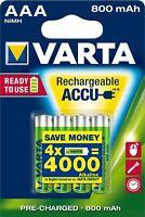 4x Varta 800mAh baugleich Phone AAA Micro ready2use Akku (1x 4er Blister) 56703