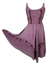Midi Boho Summer Dress Embroidered Corset Fit & Flare Pink One Size 8 10 12 14