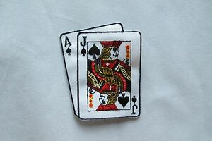 #2272 Black Jack Casino Poker Card Hand Embroidery Iron On Applique Patch