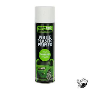 AUTOTEK PROFESSIONAL WHITE PLASTIC PRIMER 500ML HIGH COVERAGE SPRAY PAINT