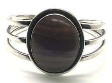 Vintage Oxidized Sterling Silver 925  Oval Brown Jasper Rib Cage Cuff Bracelet