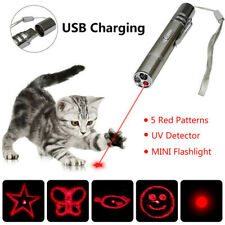 Pet Funny Cat Toy Multi-pattern LED Light Laser Pointer Pen USB Chargeable 1x