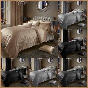 Crushed Velvet Duvet Quilt Cover with 2 Pillow Covers Luxury Quality Bedding Set
