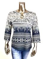 CHICO'S $69 NEW GRAY BEIGE FLORAL STUDDED V NECK 3/4 SLEEVES TOP NWOT SIZE 1 (M)