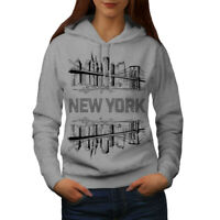 Wellcoda NY City Landscape Fashion Womens Hoodie, Big Casual Hooded Sweatshirt