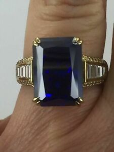 5 Cts Emerald Blue Tanzanite & Sim Diamond Men's Silver Ring Yellow Gold Plated