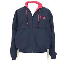 Hilton Active Apparel Jacket Large Blue Red Collar Zip Lightweight Pockets Mens
