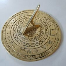More details for round small sunny hours brass sundial plain 140mm