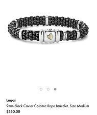 Lagos Black Ceramic Caviar Bracelet With Silver Stations