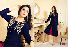 Trendy Western Georgette embroidary work Kurti navi blue