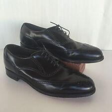 Dexter Sz 9 Black Wingtip Dress Formal Business Shoes Lace Up Non Skid Made USA
