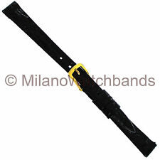 14mm Downing Black Genuine Selected Crocodile Unstitched Ladies Watch Band Short
