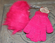 Girls SO Hot Pink With Silver Ear Muff,Gloves Winter Set $22 One Size,Christmas