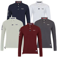 Mens Polo T Shirts Cotton Long Sleeve Stallion Knitted Collared Pique Casual New