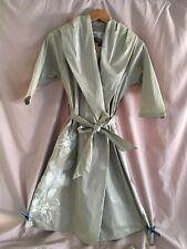 Biya Johnny Was Vintage Raincoat Jacket Coat Floral Embroidered Gray Metallic XS
