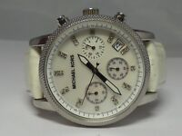 MICHAEL KORS MK5049 Ladies Chronograph Mother of Pearl White Leather Wrist Watch