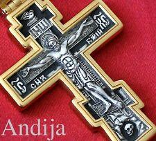 BIG SOLID RUSSIAN ORTHODOX CRUCIFIX W/PRAYER 925 STERLING SILVER 24K GOLD .999