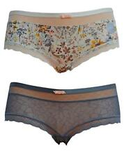 Ex M&S 2 Pack Ladies Shorts Knickers Cream Floral Print & Grey Lace