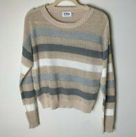27 Miles Women's Sweater Size XS Open Weave Stripes Cotton Long Sleeves