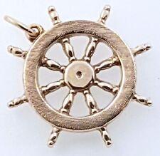 """9k """"Ships Wheel"""" Pendant/Charm_375 light Rose gold"""
