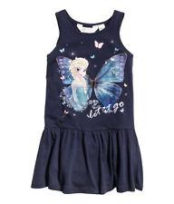 H&M Disney Anna und Elsa Frozen Kleid dunkelblau Gr.122 / 128 6-8 Y NEU