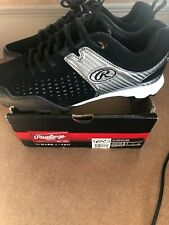 Rawlings Clubhouse BASEBALL Cleats SIZE 8 BLK and Silver-NEW!