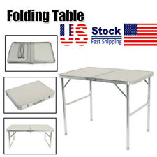 Adjustable Height Portable Centerfold Folding Table Outdoor Camp Party Picnic US