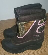 Girls Itasca Pink/Camo Boots Front Zip Snow Winter Thermo Child's Youth Size 4