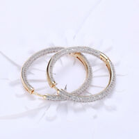 Swarovski Elements 34mm Round Hoop Earrings 18k Gold Plated ITALY Inside Out