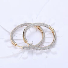 Swarovski Elements CZ Two Inch Round Hoop Earrings 18k White Gold Plated