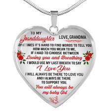 Gift For Granddaughter From Grandma Luxury Heart Pendant Necklace Birthday Girls