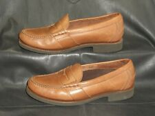 Rockport APM7115F mens tan smooth leather moc toe penny loafer shoes size 8 M