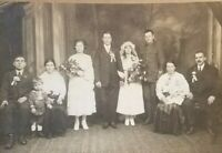 Antique Wedding Young Bride Groom Family 1920 Cabinet Photo