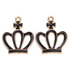 20pcs Charms Black Enamel Gold Plated Crown Shape Alloy Pendants Fit Handmade L