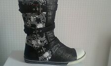 Ladies grey and black floral flat side zip buckled slouch boots u.k size 3
