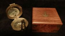 Stanley London Natural Sine Nautical Brass Compass With Wood Case Contemporary