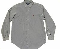 Ralph Lauren Mens Shirt 16 1/2 Large Black White Striped Button Down Blue Tag