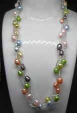 Bridal/Bridesmaid Beaded Multi Coloured Freshwater Pearl 3 Strand Necklace