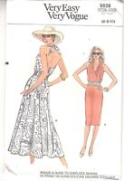 Vogue 9828 Misses Dress Straight Flared Skirt Halter Top Sewing Pattern 6-10