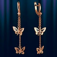 Russische Rose Rotgold 585 Schmetterling Ohrringe mit CZ Nue Gold earrings !