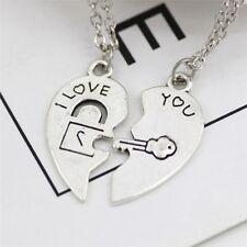 Charm I Love You Lock & Key Pendant Couple Chain Heart Necklace Jewelry 2pcs/Set